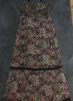 Платье сукня літня летнее легкое сарафан шифоновый длинный в пол кружево макси 42 44 s xs