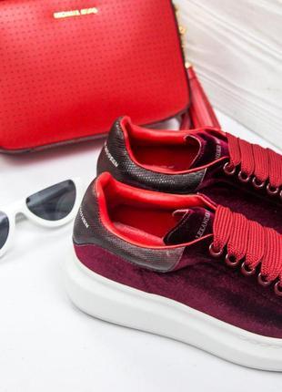 Шикарные женские кроссовки/ кеды alexander mcqueen red 😍 (весна/ лето/ осень)