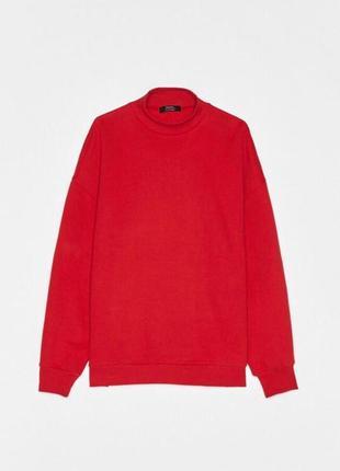 Красная толстовка свитер свитшот худи футболка с длинным рукавом bershka4