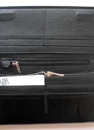 Большой кожаный кошелек черная роза, 100% натуральная кожа, есть доставка бесплатно4