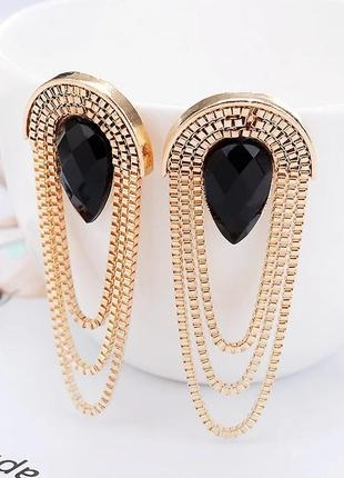 Сережки ланцюжки з чорним камінцем
