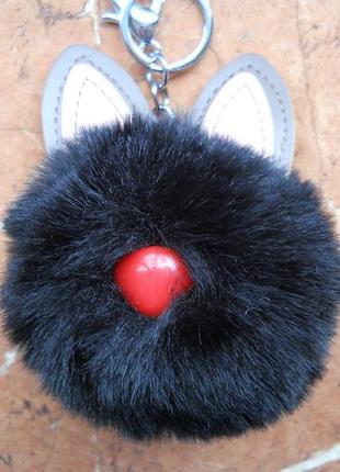 Брелок с ушами на сумку, зайчик кролик мех, меховой помпон, для ключей