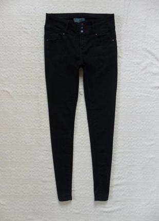 Стильные черные джинсы скинни с высокой талией wax, 10 размер