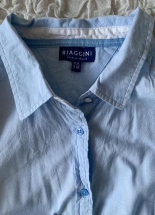 Хлопковая голубая рубашка идеал biaggini 44