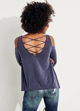 Легкая свободная кофта блуза открытые плечи шнуровка hollister
