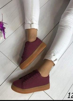 Криперы  кроссовки бордо рыжая подошва