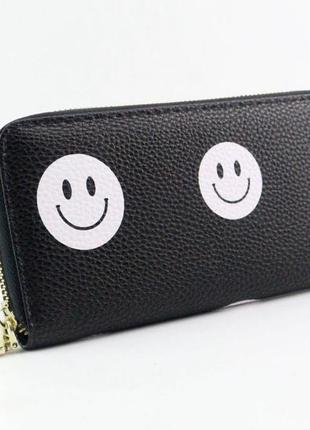 Новый классный черный длинный кошелек клатч бумажник смайлики смайлы
