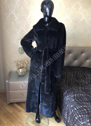 Норковая шуба emfasi, blackglama, 135 см, халат, плюшка