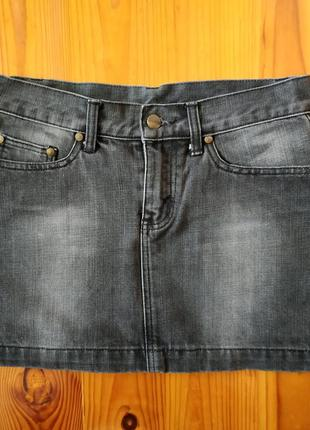 Серая джинсовая юбка h&m divided xs/34