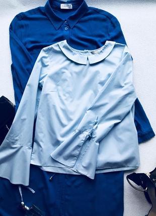 Хлопковая блуза голубого цвета