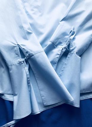 Хлопковая блуза голубого цвета2