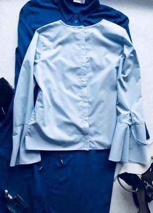 Хлопковая блуза голубого цвета4