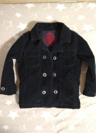 Бомбезное темно-синее вельветовое пальто adams, 3-4 года