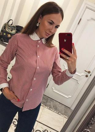 Шикарная блуза с жемчугом и воротничком ,с,м.реальные фото
