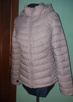 Куртка amisu беж 38 и 34рр капюшон деми стеганная