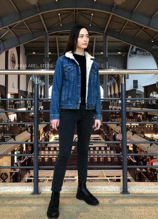 Джинсовая куртка джинсовка шерпа с мехом оверсайз topshop