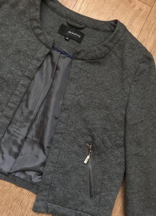 Серый стеганый пиджак куртка короткий в ромбик джемпер бомбер 34 36 xs s