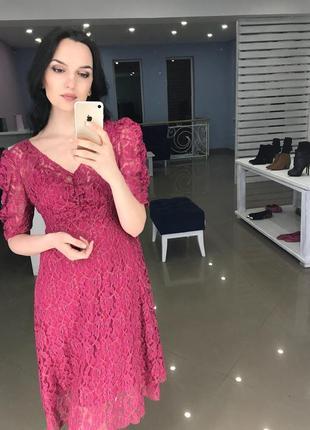 Кружевное платье mango розовый фуксия м