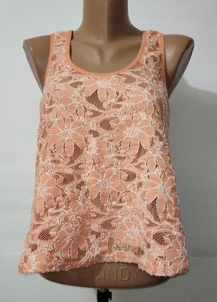 Абрикосовая стрейчевая красивая кружевная майка блуза jane norman uk 8 / 36 / xs