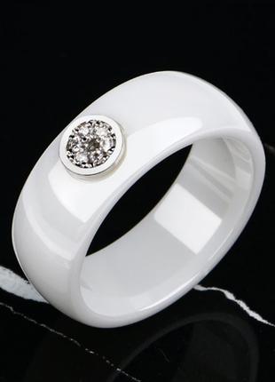 Керамическое белое кольцо с кристаллами код 1616