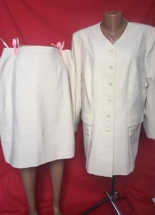 Шикарный стильный костюм для деловой леди - длинный пиджак сюртук с миди юбкой 60 р1