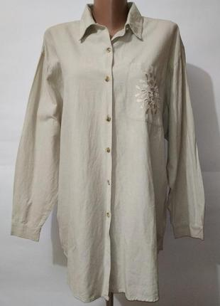Новая хлопковая рубашка этно с перфорацией вышивка uk 14-16 / 42-44 / l-xl