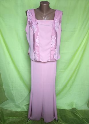 Розовый торжественный летний костюм с юбкой силуэт на стройную леди 54 р