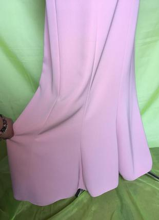 Розовый торжественный летний костюм с юбкой силуэт на стройную леди 54 р4