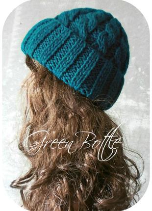 Любая расцветка! хлопковая шапка с отворотом/косы/бутылочного цвета