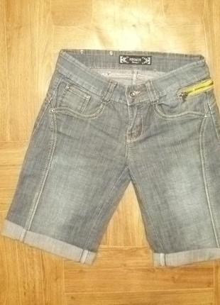 Джинсовые шорты forcalun jeans с желтыми молниями,летний коттон