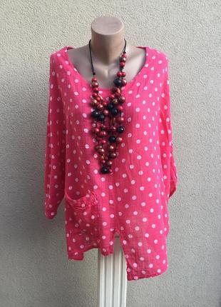 Легкая,асимметричная,льняная блуза,рубаха в горохи,этно,бохо стиль,большой размер