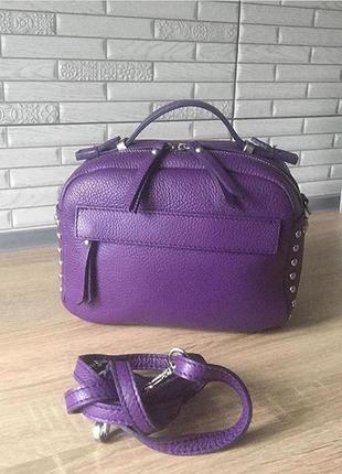 Сумка кожаная италия натуральная кожа кроссбоди фиолетовая фиолет 4 сирень новая шкіряна