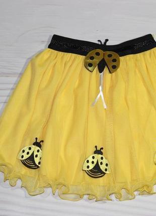 Нарядная фатиновая желтая юбка, на резинке, турция1