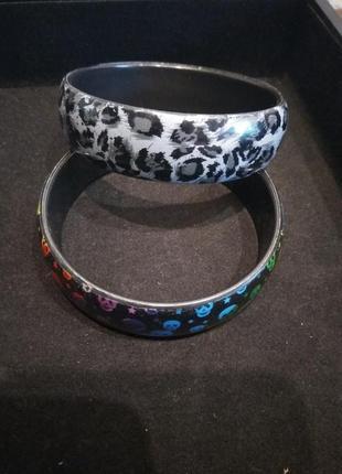Набор из двух браслетов в стиле рок зверинный принт черепа подарок №3