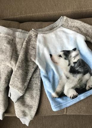 Флисовая пижама next на мальчика 12-18 мес