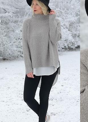 Серый свитер с горловиной h&m