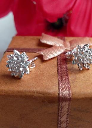 Серьги-гвоздики,серебро 925