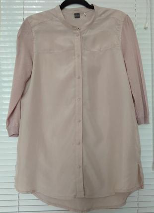 Туника блуза натуральный шелк цвет пудры