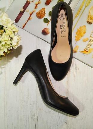 Esmara! кожа! красивые базовые туфли лодочки актуального фасона