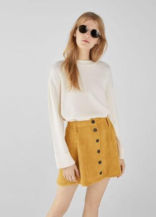 Вельветовая юбка клеш на пуговицах