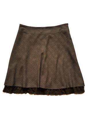 Шикарная юбка из шерсти и льна с кружевным низом