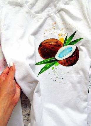 Handmade 🎨 біла футболочка (кокос) всі розміра .