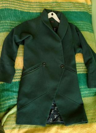 Чудове кашемировое весеннее зеленое пальто бойфренд оверсайз pink на весну демисезон s m