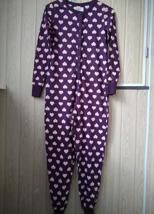 Кигуруми фиолетовый с розовыми сердечками домашняя пижама комбинезон слип