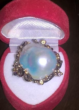 Кольцо из серебра 925 с натуральным жемчугом барокко