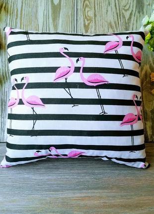 Подушка фламинго на полосатом фоне двухсторонняя , 34 см * 34 см1 фото