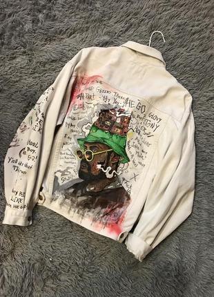 Куртка джинсовая oversize, белый джинс, куртка с рисунком schoolboy q