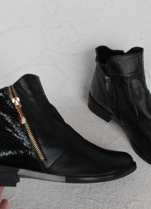 Демисезонные кожаные ботильоны, ботинки 37 размера на низком ходу