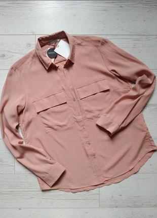 Пудровая блуза рубашка р.14
