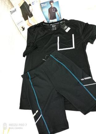 Комплект спортивные мужские шорты-тайтсы   футболка, м рр, crivit sport.